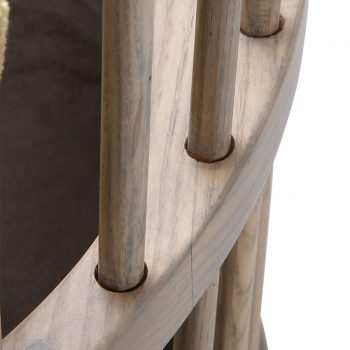 Wooden revolving high-back barrel accent chair