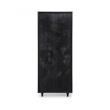 Contemporary handcarved engraved solid wood and veneer tall cupboard