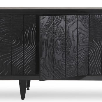 Handcarved engraved solid wood and veneer entertainment cabinet media center