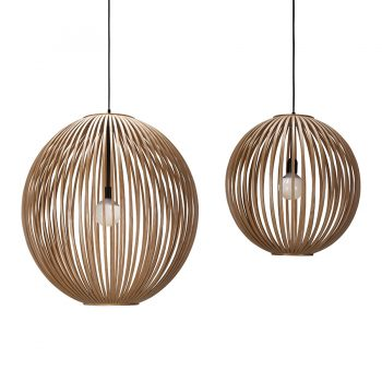 Contemporary handbent solid wood and veneer rounded slatted hanging lamp