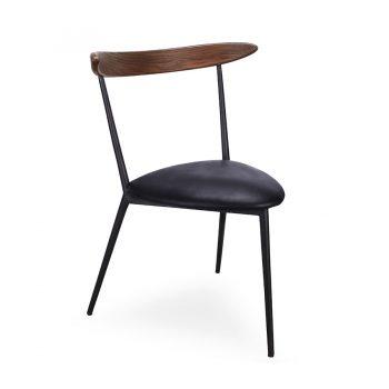Solid Walnut wood three-legged accent chair