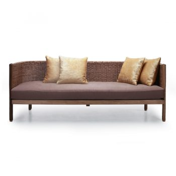 Tropical wooden wicker 3 seater sofa with cushioned seat