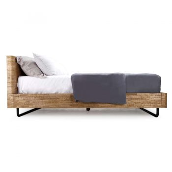 Contemporary industrial style solid wood and metal textured queen bed