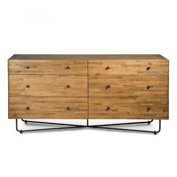 Contemporary solid wood planks and metal cross legs six-drawer cabinet