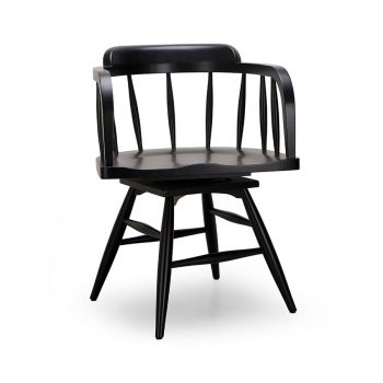 Traditional farmhouse wood spindle swivel chair