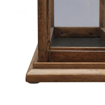 Decorative rectangular contemporary wood and glass lantern tabletop accessory