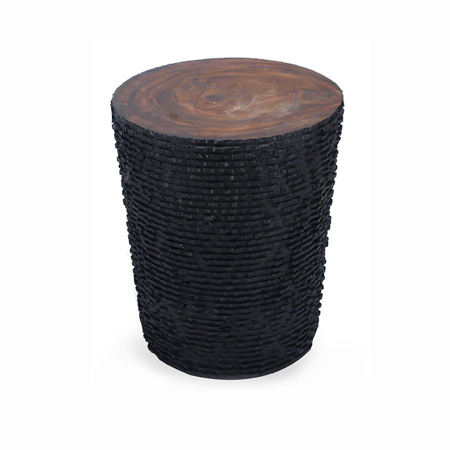 Handcarved Acacia wood side table stool with organic burnt texture