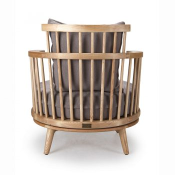 Wooden revolving low-back accent barrel chair