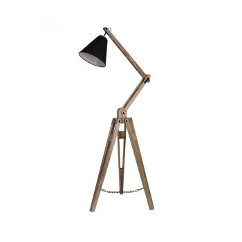 Modern solid wood metal and cloth fabric shade adjustable architectural floor lamp