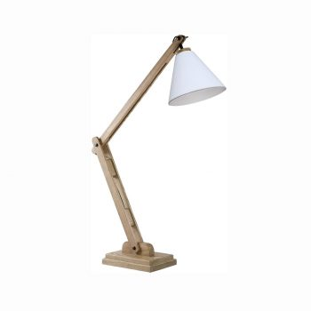 Modern solid wood metal and cloth fabric shade adjustable architectural table lamp