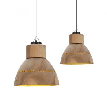 Contemporary hand turned wooden hanging lamp with slit