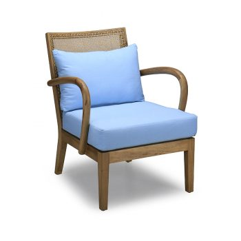 Traditional handcarved tropical Filipino accent chair with Solihiya weaving