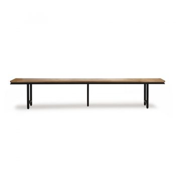 Solid wood and metal modern contemporary bench