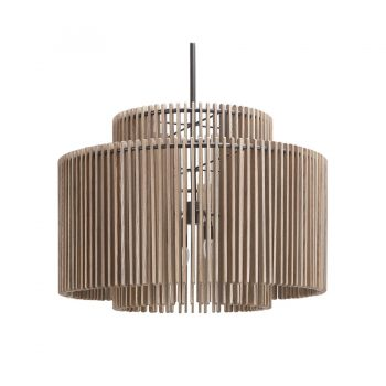 Contemporary solid wood chandlier with concentric metal strip slatted wood frame