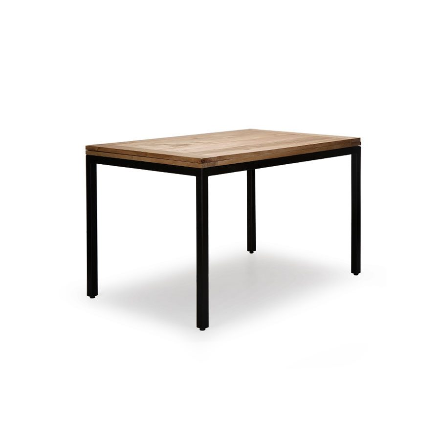 Expandable industrial modern solid wood and metal dining table