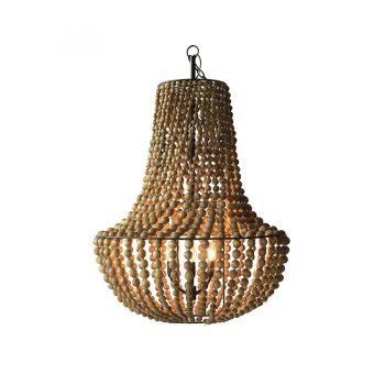 Traditional tropical handcarved solid wood and metal beads chandelier