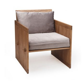 Solid wood crate cabinet box accent chair