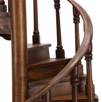 Farmhouse unique handcrafted solid wood metal and black cloth shade handcarved spiral staircase table lamp