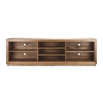 Rustic traditional solid wood open sleves entertainment cabiet media center