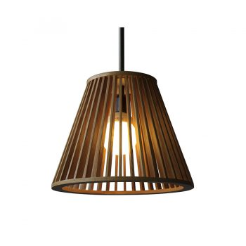 Empire shaped tapered modern wood and metal pendant lamp