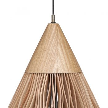 Contemporary bentwood cone shaped solid wood and veneer hanging lamp