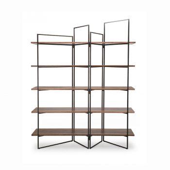 Contemporary modern industrial wood veneer and metal bookshelf