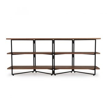 Contemporary solid wood veneer and metal modular console table
