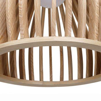 Pear shaped bentwood veneer and metal contemporary pendant lamp