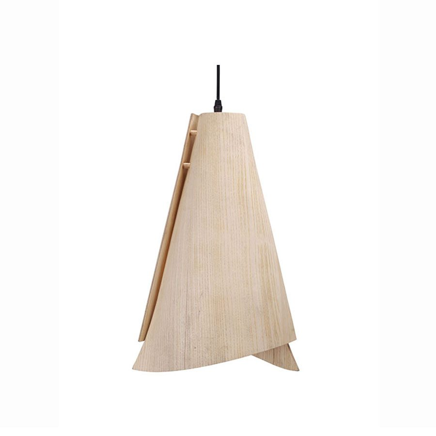 Cone shaped jandcarved wood and veneer contemporary handing lamp