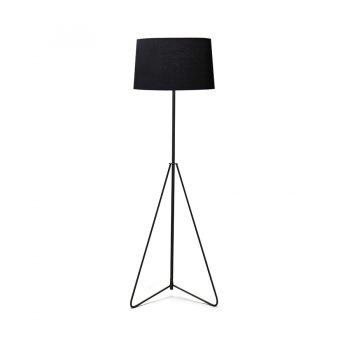 Minimalist monochrome industrial chic metal and black cloth shade floor lamp with geometric hairpin legs