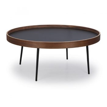 Walnut bentwood and metal round coffee table