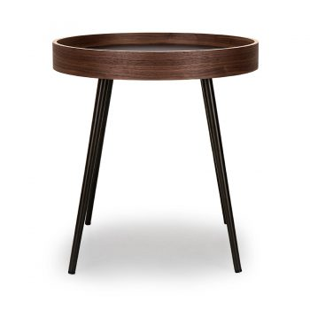 Walnut bentwood and metal round side table