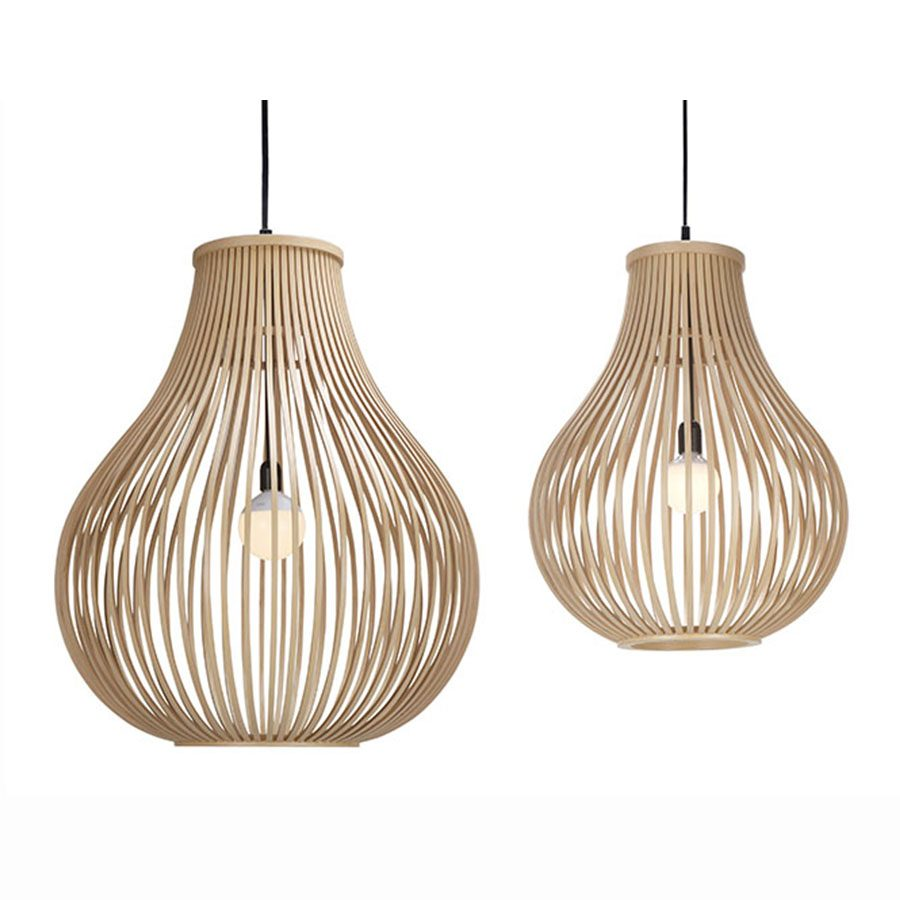 Handmade bentwood contemporary pear-shaped solid wood hanging lamp