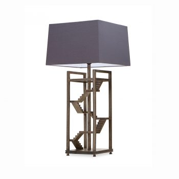 Rustic modern cantilevered handcarved solid wood and fabric shade staircase table lamp