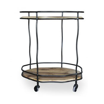 Solid wood and metal contemporary bar cart with wheels