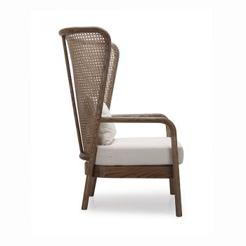 Classic wooden wing accent lounge chair in Filipino Solihiya weaving