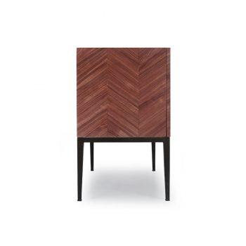 Contemporary geometric pattern Walnut wood veneer sideboard
