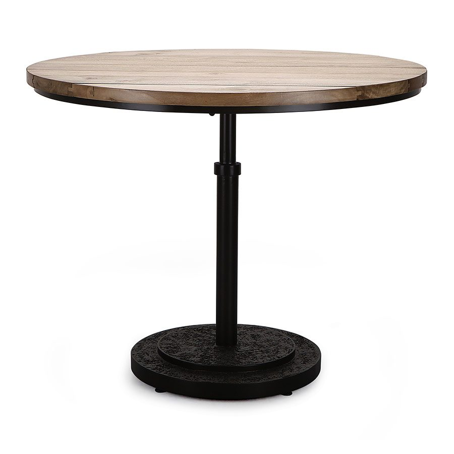 Industrial solid wood metal and cement round dining table