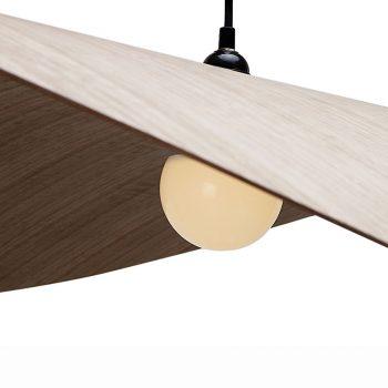 Disk shaped modern contemporary bentwood veneer hanging lamp