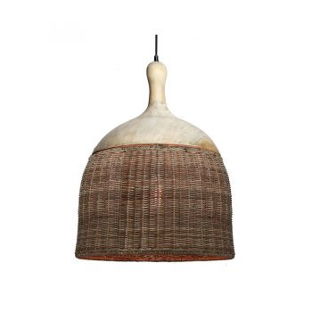 Tropical handwoven wicker and solid wood hanging lamp