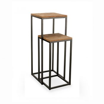 Industrial reclaimed wood and metal nesting table pedestal