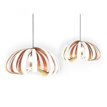 Contemporary bentwood veneer floer petal-shaped hanging lamp