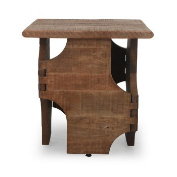 Sculptural reclaimed wood night side table traditional knuckle joinery