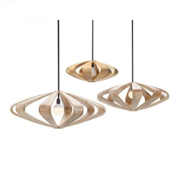 Contemporary geometric solid wood and metal flower shaped hanging lamp by Milo Naval