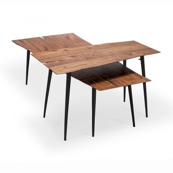Walnut wood veneer and metal live edge coffee table with paper thin top