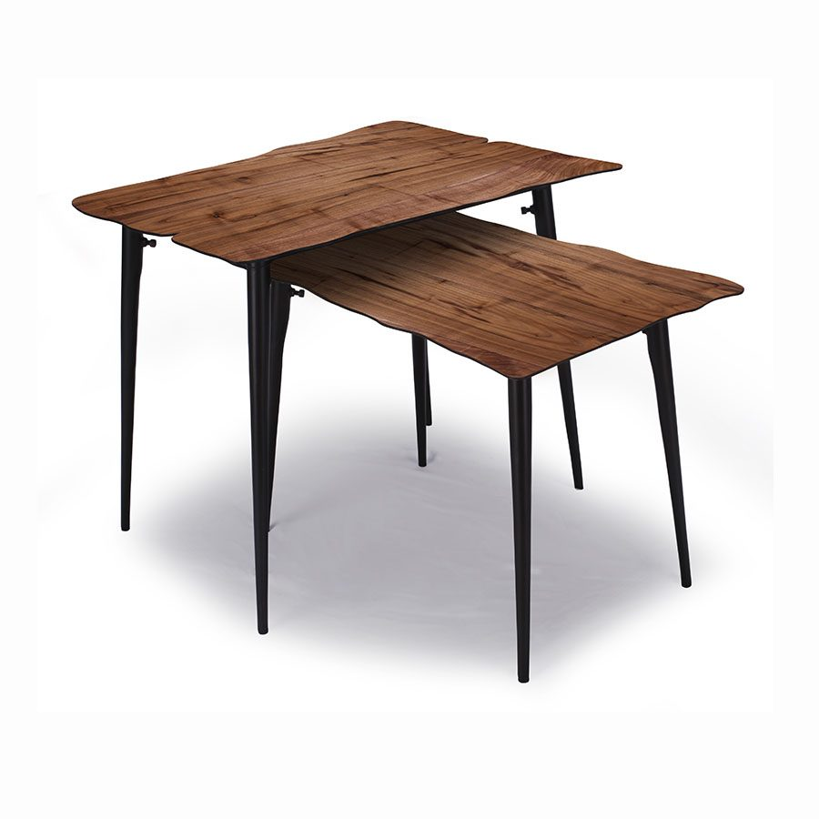 Walnut wood veneer and metal live edge nesting table with paper thin top