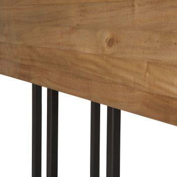 Solid wood and metal drop leaf table