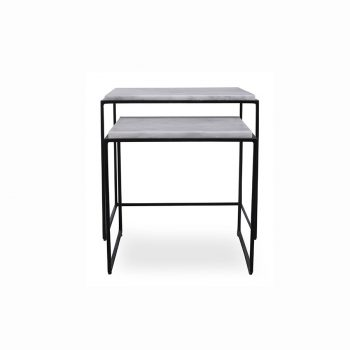 Modern mabrble and metal nesting table