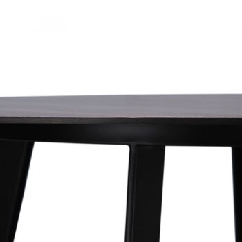 Contemporary walnut wood veneer and metal round dining table