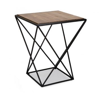 Reclaimed wood and metal geometric side criscross table